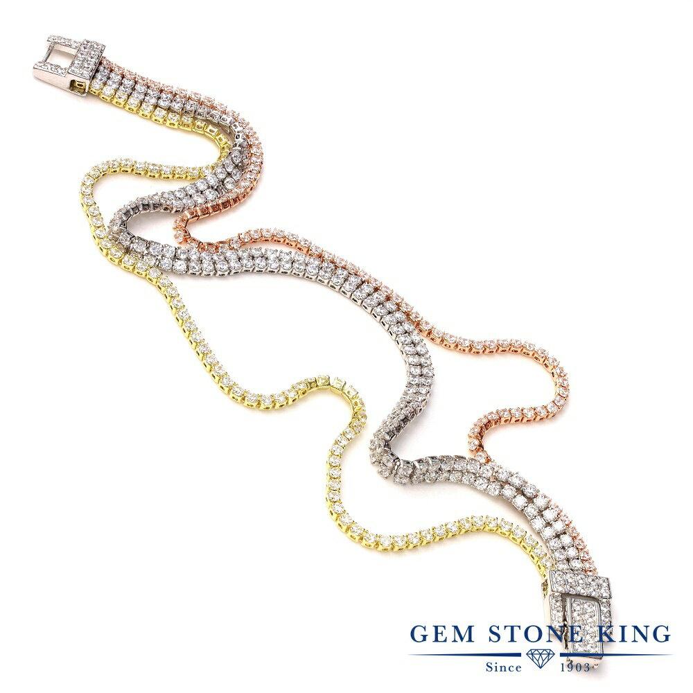 Gem Stone King ジルコニア (無色透明) シルバー925(純銀) ブレスレット テニスブレスレット レディース CZ 小粒 金属アレルギー対応 誕生日プレゼント
