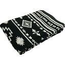 タオルケット 綿100% ジャガード織 オルテガ柄 ダブルサイズ 180×200cm (ブラック)