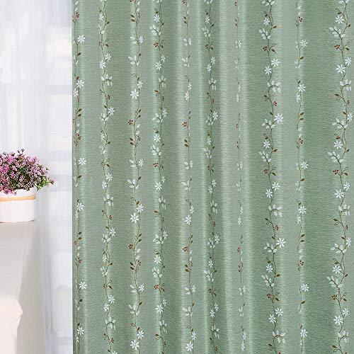 Baibu Home カーテン 花柄 グリーン