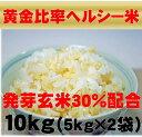 無農薬の発芽玄米配合黄金比率ヘルシー米10kg(5kg×2袋)【発芽玄米30%配合】無洗米/