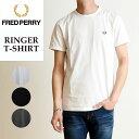 2019春夏新作 FRED PERRY フレッドペリー リンガー Tシャツ 半袖 メンズ 白 無地 M3519
