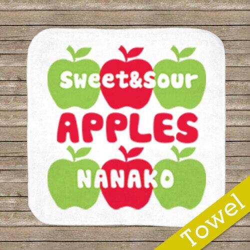 名入れ ハンカチタオル   【apple 】 お誕生祝い プレゼント 内祝い 男の子 女の子 ギフト 名前入りプレゼント