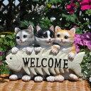 【アンジェロ】猫 置物ガーデニング キャット玄関 CATボーンウエルカムキャット 雑貨エントランスに【HLS_DU】【コンビニ受取対応商品】
