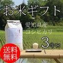 送料無料 お米 ギフト 愛知県産 コシヒカリ 3キロ 【 内祝い ギフト お返し 引き出物 出産 結婚 香典返し 】