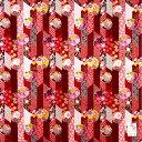 ショッピング弁当 大判ハンカチ 花丸(はなまる)赤(レッド)和柄 バンダナ 縁起物 厚手ハンカチ ミニ風呂敷 スカーフお弁当包み ランチョンマット 手芸用布 ティッシュカバーペットボトルカバー 手作りマスク 綿100% 送料無料