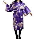 シルクハッピーローブ 鶴 紫【送料無料】【和風部屋着】【日本のお土産】【ホームステイのおみやげ】
