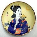 美人画絵皿 日本美人 着物 扇子 スタンド付き 中 【日本の土産】【ホームステイのおみやげ】【飾り絵皿】 【インテリア】