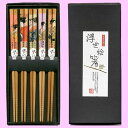 Five wooden chopsticks set ukiyoe print beautiful woman bamboo [comfortable  _ expands an address]