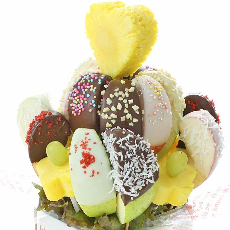 [ギフトパーク]誕生日ギフトフルーツフラワー[チョコアップルフラワー]サプライズプレゼントバースデー