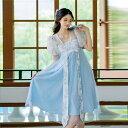 ショッピングパフスリーブ セール DreamSwing レディース 透け 漢服風ワンピース 水色 刺繍 中華風 パフスリーブ ハイウエスト DS436 夏 乙女系 姫系 れのPのおすすめ