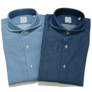 BOLZONELLA(ボルゾネッラ)コットンシャンブレーカッタウェイラウンドカラーシャツS1RAPPER/NGRB800911052002025