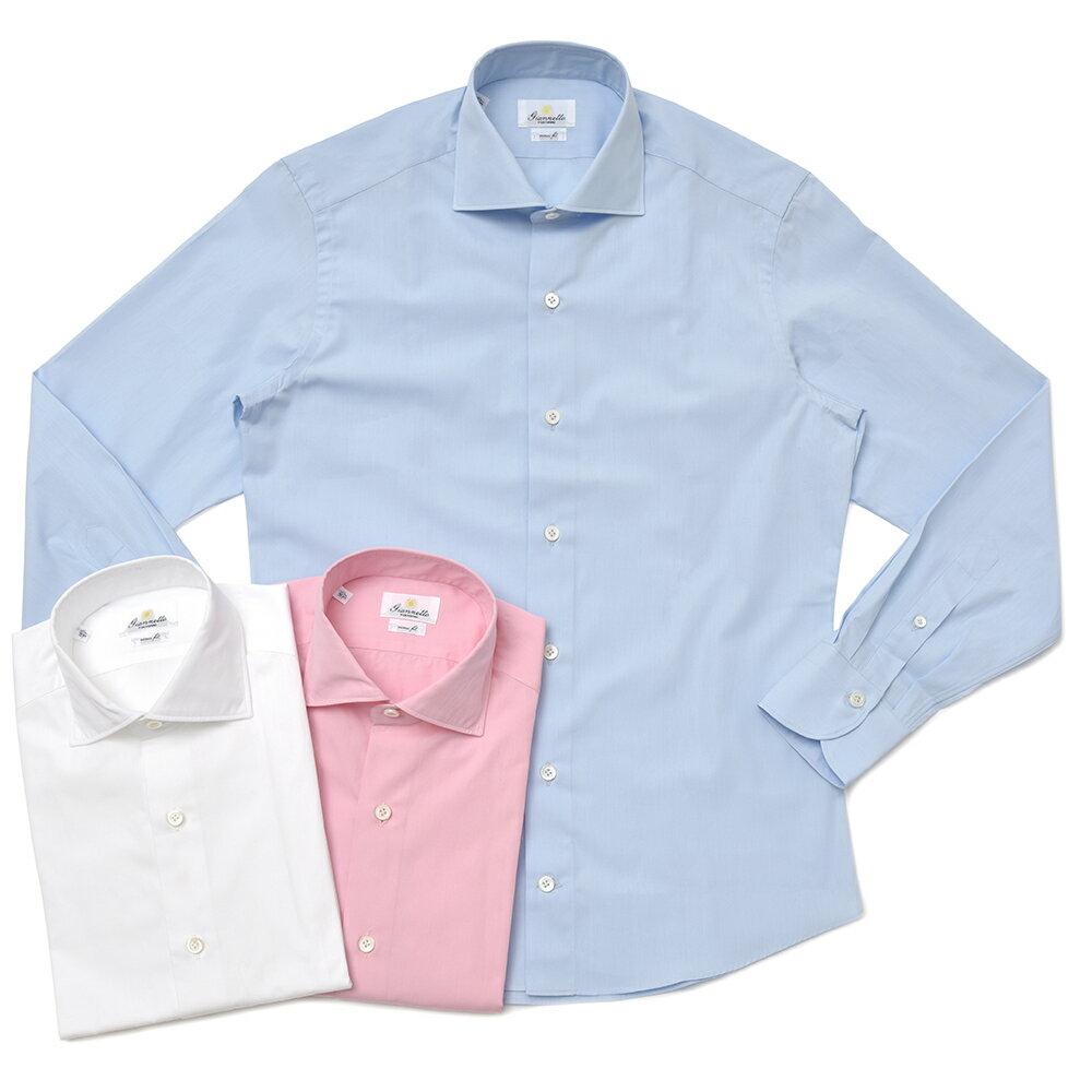 Giannetto(ジャンネット)ウォッシュドコットンブロードソリッドセミワイドカラーシャツ VINCH FIT/8G10330V81 11081000109