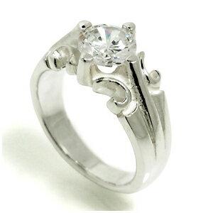キュービックジルコニア ユリデザイン シルバーリング 17〜23号 指輪 リング Ringメンズ レディース 男性女性指輪 プレゼント 人気 かわいい おしゃれ
