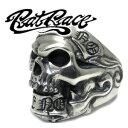 スカル リング ドクロ シルバーリング メンズ ガイコツ 骸骨 指輪 ■【RAT RACE(ラットレース)】「GiveNo TakeNo」と刻んだリボンの間からスカルが覗くリング!