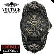 【送料無料】【VOLTAGE 時計】 センチネル5(ゴールド ブラック) スカル クロノグラフ メンズ 腕時計 時計 アクセサリー パンク ロック ファッション ヴォルテージ ボルテージ メンズナックル センティネル Sentinel コンチョ【ギフトOK】