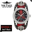 VOLTAGE 時計 メンズ 腕時計 クロノグラフ パンク ロック ファッション メンズナックル■危険なクロスソードスカルを配したボルテージ/センチネル6
