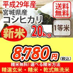 【H29年産新米】【スーパーSALE!】【ポイントアップ!】【玄米】【送料無料】平成29年産 宮城産 コシヒカリ 20kg 選べる精米方法