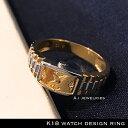 18金 リング 時計 k18 腕時計 デザイン リング 天然...