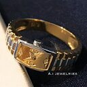 18金 リング 時計 k18 腕時計 デザイン リング 天然 ダイヤモンド付き 男女兼用 / k18 watch design ring with diamond