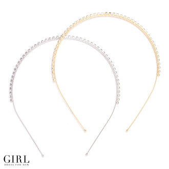 Rhinestone ☆ 1 line classic headband is used anytime better! [Party wedding rhinestone headband gold silver heaakuse headpiece hair accessory women's yukata appearance store