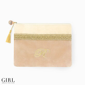 Extended per popular! Embroidered initials pouch large wristlet velour cosmetic pouch makeup, cute your gift pouch pouch cigarette case Smartphone mail order mail order 10P13oct13_b