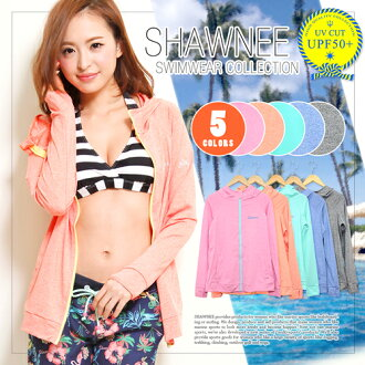 Rash Guard ladies [41241] into the water intact UPF 50 + swimsuit material hooded RashGuard long sleeve border