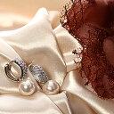 キュービックジルコニア ジュエリー&パールエレガントフープフピアス プレゼント ギフト pierce 真珠 アクセサリー 