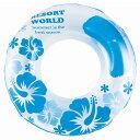 浮き輪 大人 100cm プリティハイビスカス ブルー wr607 浮輪 うきわ 水遊び プール アウトドア用品 レジャー用品 子供にファミリー家族で