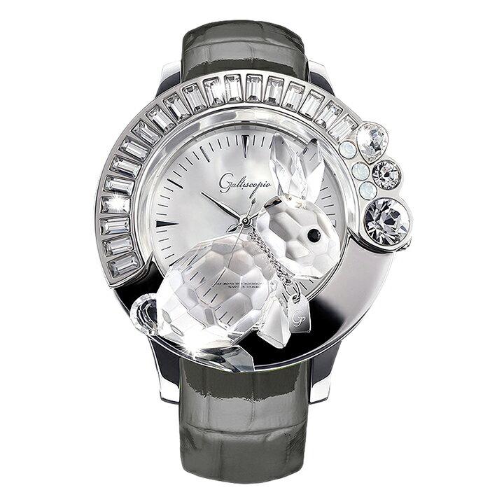 スワロフスキーのキラキラ腕時計 Galtiscopio(ガルティスコピオ) DARMI UN ABBRACCIO 兎11 グレー レザーベルト [日本正規総代理店][正規輸入品][送料無料]かわいい3-Dクリスタルのウサギが乗ったスワロフスキーのキラキラ時計!