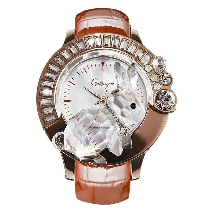 スワロフスキーのキラキラ腕時計 Galtiscopio(ガルティスコピオ) DARMI UN ABBRACCIO 兎18 ローズゴールド ブラウン レザーベルト [日本正規総代理店][正規輸入品][送料無料]かわいい3-Dクリスタルのウサギが乗ったスワロフスキーのキラキラ時計!