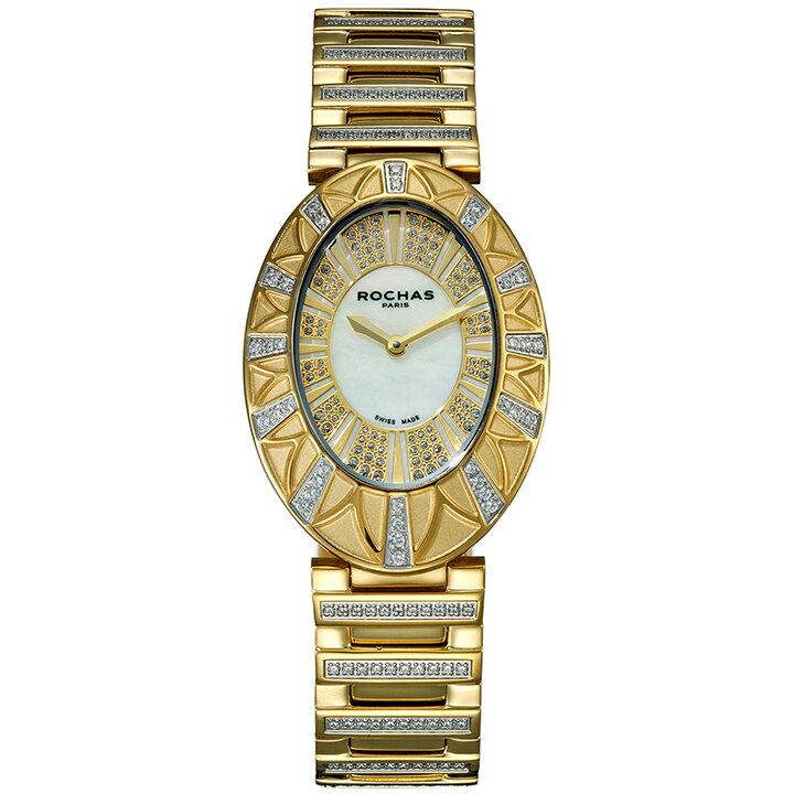 フレグランスが世界的に有名なフランスのファッションブランド ROCHAS(ロシャス)のレディース腕時計 RJ02 ホワイト/ゴールド SSブレスレット メタルブレス 白蝶貝 [日本正規総代理店][正規輸入品][送料無料]フランスを代表する老舗メゾン ロシャスのレディース腕時計!