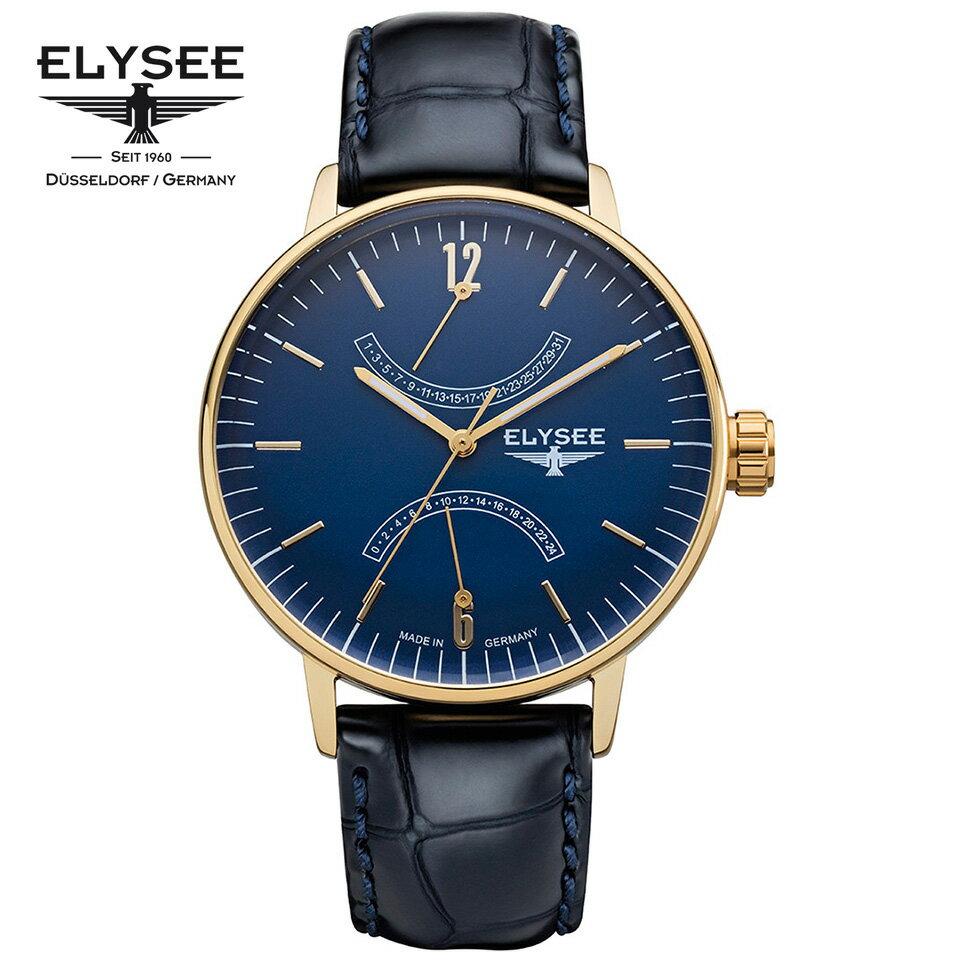ELYSEE(エリーゼ) ドイツ時計 SITHON 13291 ブルー/ゴールド/ネイビー レトログラード 本革ベルト クラシック メンズ腕時計 [日本正規総代理店][正規輸入品][送料無料]クラシックなレトログラードの文字盤が人気のモデル