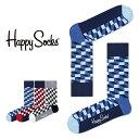 Happy Socks ハッピーソックスFILLED OPTIC ( フィルド オプティック )クルー丈 綿混 ソックス 靴下 ユニセックス メンズ & レディ..