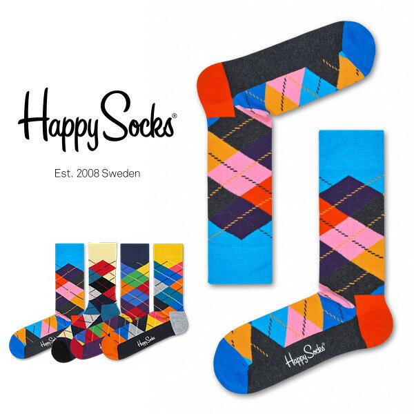 【送料無料】スーパーDEALポイント30%還元Happy Socks ハッピーソックスARGYLE ( アーガイル ) クルー丈 綿混 ソックス 靴下ユニセックス メンズ & レディス h605080 バレンタイン プレゼント