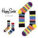 【ポイント20倍】Happy Socks ハッピーソックスDOTTED STRIPE ( ドット ストライプ ) クルー丈 綿混 ソックス 靴下ユニセックス メンズ & レディス h605090母の日 無料ラッピング