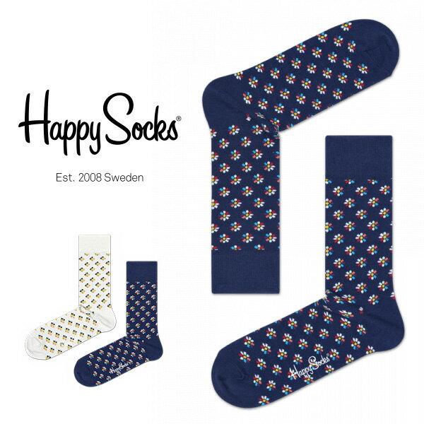 【送料無料+ポイント20倍】Happy Socks ハッピーソックスMINI FLOWER ( ミニフラワー ) クルー丈 綿混 ソックス 靴下ユニセックス メンズ & レディス h605140