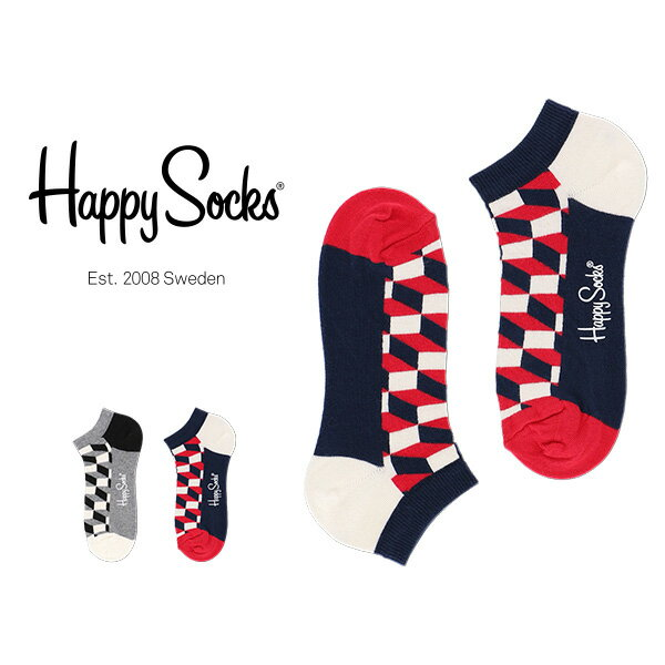【ポイント20倍】Happy Socks ハッピーソックスFILLED OPTIC ( フィルド オプティック ) スニーカー丈 綿混 ソックス 靴下ユニセックス メンズ & レディス h605304母の日 無料ラッピング