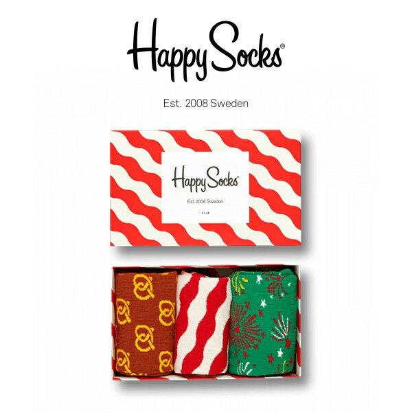 【送料無料+ポイント20倍】Happy Socks ハッピーソックスRED & WHITE ( レッド & ホワイト ) 3足組 ギフトセット 綿混 クルー丈 ソックス 靴下 GIFT BOX ユニセックス メンズ & レディス h605922母の日 無料ラッピング