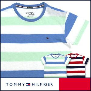 トミーヒルフィガークルーネック ボーダー Tシャツ オーガニックコットン ワンポイント