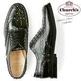 【送料無料】 チャーチChurch's レディース オックスフォード エナメル おじ靴 レースアップ スタッズ Burwood Met Black Polished Binder メタル スタッズ がぎっしり施された モード デザイン 上質レザー 使用 安定感
