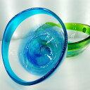 手作りの琉球ガラス 琉球グラス 琉球ガラス 琉球 ガラス 琉球グラス ガラス鉢 潮騒ボウル 青×水色 緑×水色