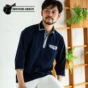 ショッピングダンガリー 日本製 セオアルファ 7分袖 ポロシャツ メンズ 男性 [BRITISH GREEN/ブリティッシュグリーン]