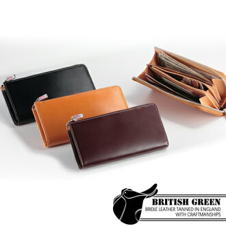 [BRITISH GREEN] - Bridle leather - L-shaped a zip wallet