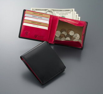 [Free Name-Engraving Service] [British Green] Double Bridle Leather Bi-Fold Wallet Red [Tomorrow Easy Correspondence] [Today Point 10 Times]