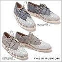 FABIO RUSCONI ファビオ ルスコーニ 別注デザイン スエード×型押しレザー レースアップシューズS-2342 レディース 靴 22.5cm 23cm 23.5cm 24cm 24.5cm