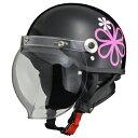 ★送料無料★LEAD リード工業 CROSS CR-760 ハーフヘルメット0SS-GCCR760-KJ(ブラック/フラワー) サイズ調整スポンジ付き