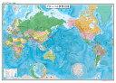 表面PP加工 世界地図(行政図)ポスター水性ペンが使える世界地図です。国や地域で色分