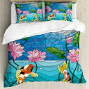 Lunarable Koi Fish Duvet Cover Set Queen Size, Stained Gla