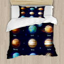 Ambesonne Educational Duvet Cover Set, Solar System Planets
