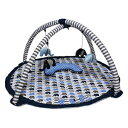 Bacati Elephants Activity Gym with Mat, Blue/Grey